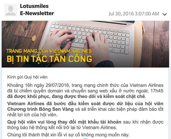 Vietnam Airline gửi thông báo đến Hội viên chương trình Bông sen vàng